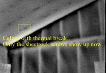 Infrared image showing thermal break